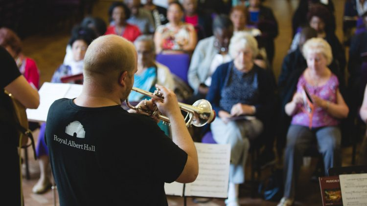 A trumpet player performs at the Songbook