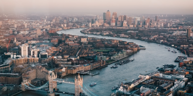 A view of London overlooking the Thames.