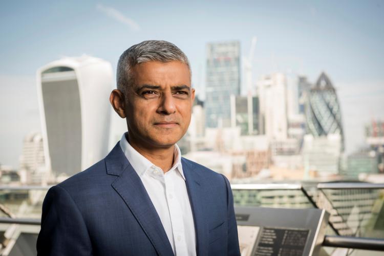 Sadiq Khan and London skyline