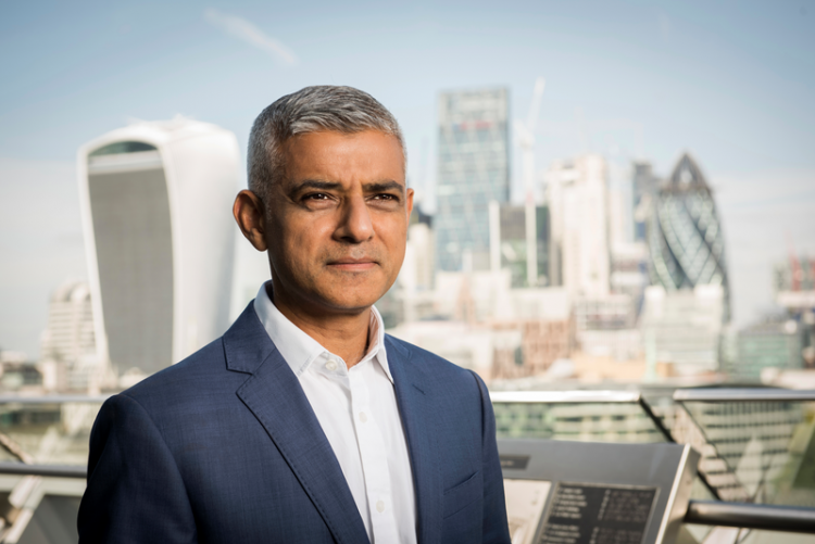 Sadiq Khan and London skyline